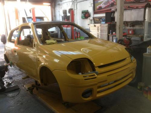 yellow track car